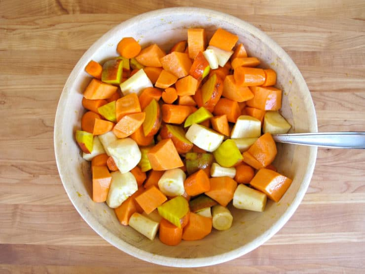 Root vegetables in a mixing bowl.