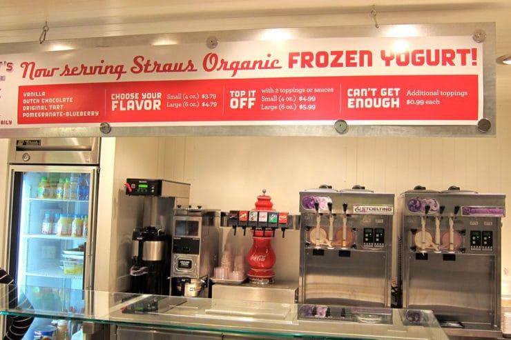 Straus Frozen Organic Yogurt stand at Ferry Plaza Farmer's Market.