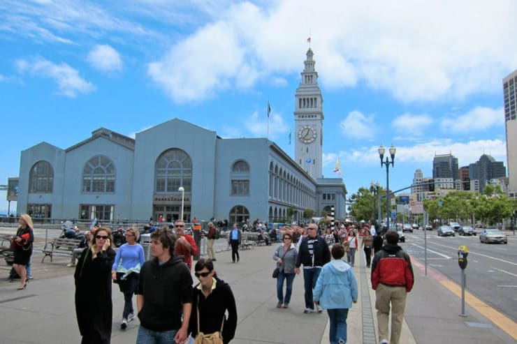 Ferry Plaza San Francisco - outdoor shot, crowd walking by.