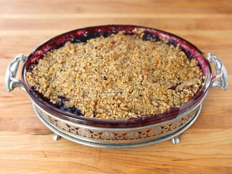 Peach and Blueberry Crisp - A simple seasonal dessert recipe with peaches and blueberries, inspired by the San Francisco Ferry Plaza Farmer's Market. Kosher, Dairy.