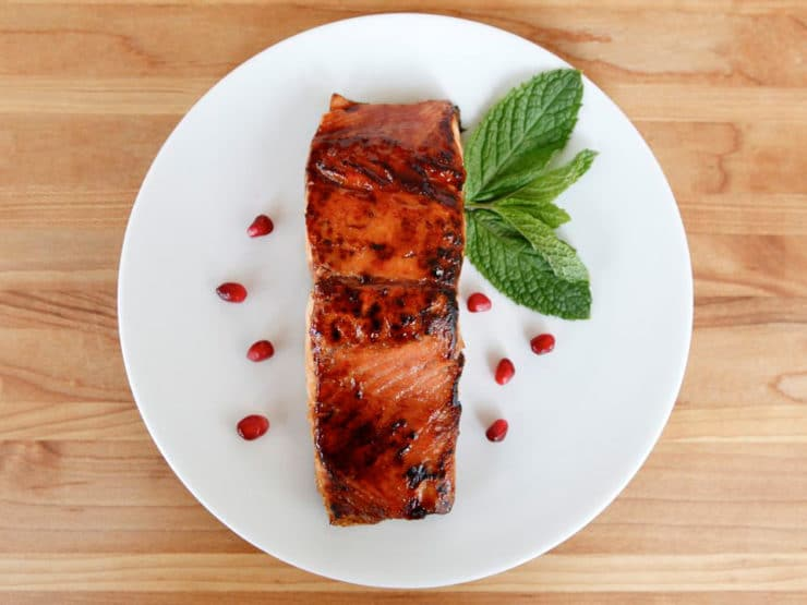 Pomegranate Glazed Salmon - Salmon seared and glazed with pomegranate molasses, finished in a slow oven for a perfect, caramelized finish. Rosh Hashanah, Kosher, Pareve.