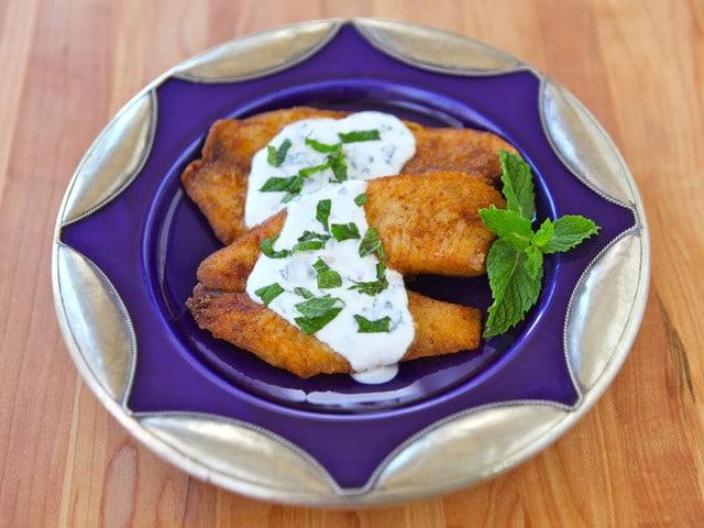 Crispy Fish & Greek Yogurt Mint Sauce