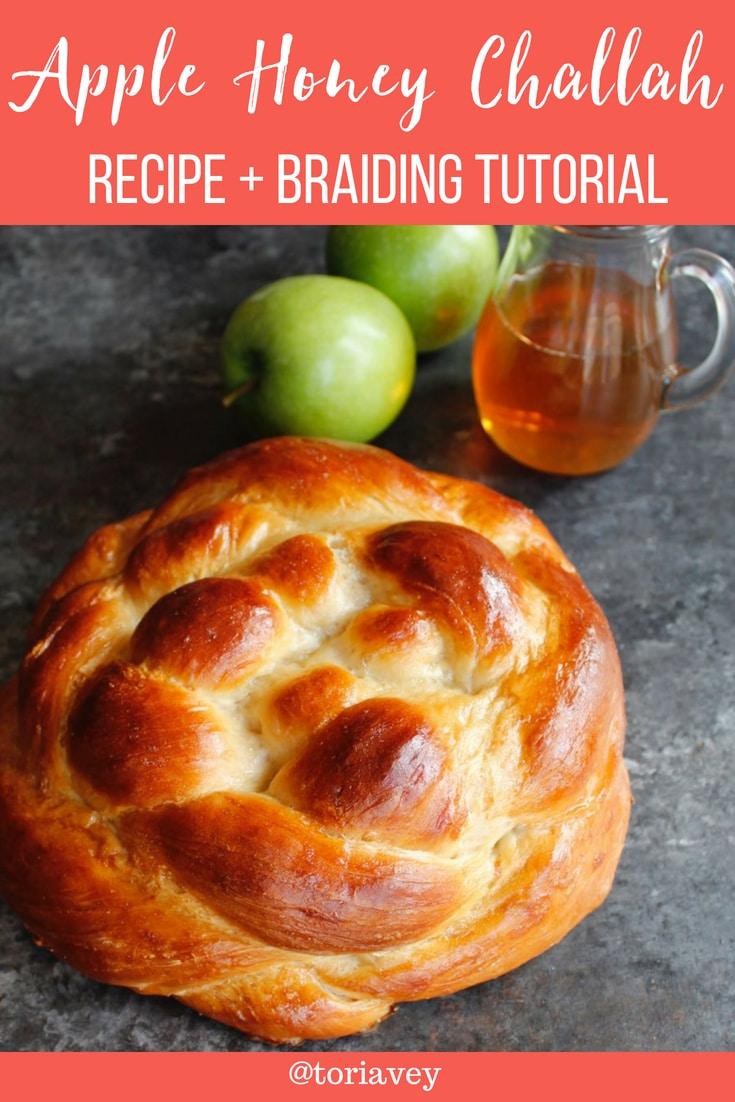 Apple Honey Challah - This fluffy apple-stuffed homemade challah is braided round for Rosh Hashanah. Sweet, fragrant and delicious holiday recipe. | Tori Avey #challah #applesandhoney #roshhashanah #jewishholidays #chagsameach #apples #honey #bakingproject #braidedbread #braiding #shabbat #highholidays #shabbatshalom