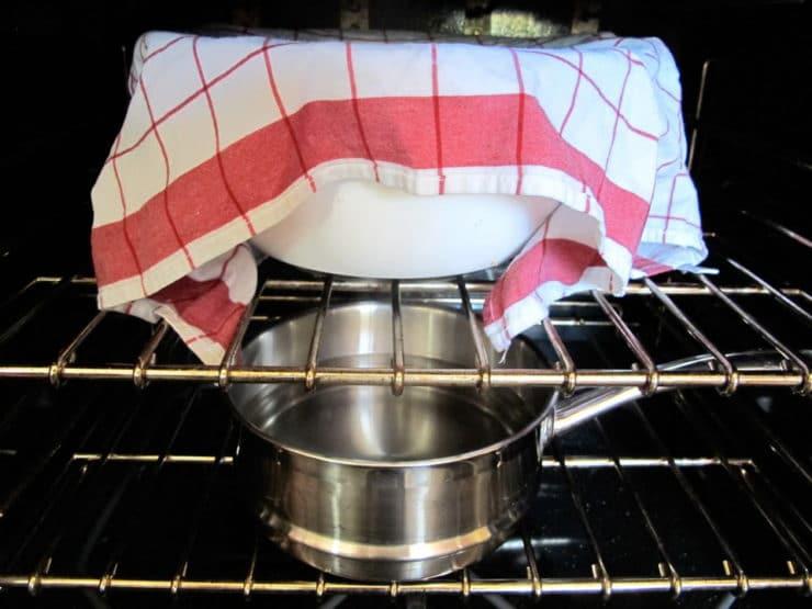 Challah dough rising.
