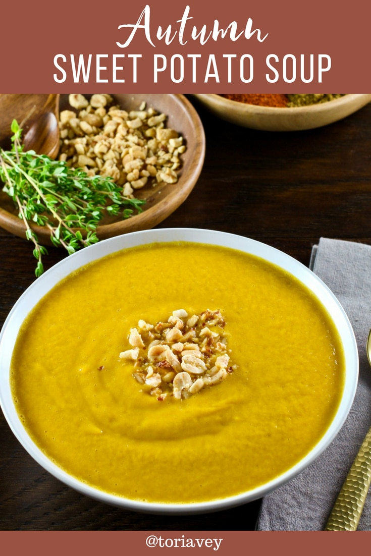 Autumn Sweet Potato Soup - Delicious vegan African-inspired soup recipe with yams, zucchini, tomatoes, and spices. Peanut butter gives it an unexpected, creamy flavor. #autumn #yams #soup #Sukkot #RoshHashanah #TorisKitchen #vegan #vegetarian #glutenfree #cleaneating #healthy #sweetpotatoes #peanutbutter