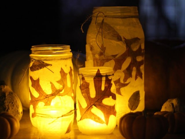 Autumn Votives - Easy kid-friendly craft for Fall, Sukkot & Thanksgiving – Autumn Votives. Includes step-by-step illustrated tutorial from Brenda Ponnay. Seasonal holiday craft.
