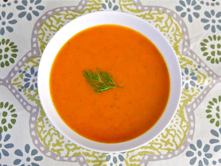 Norene Gilletz's Carrot & Sweet Potato Soup - An Interview with Norene Gilletz, author of The Food Processor Bible, and her recipe for Carrot and Sweet Potato Soup. Vegan, Gluten Free, Pareve