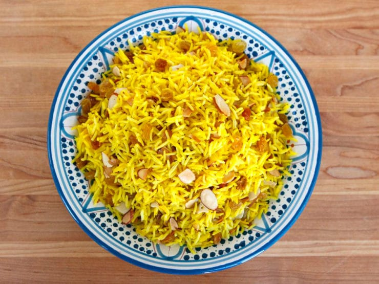 Claudia Roden's Riz au Saffran - Interview with culinary anthropologist and cookbook author Claudia Roden, and her recipe for Saffron Rice with Raisins & Almonds