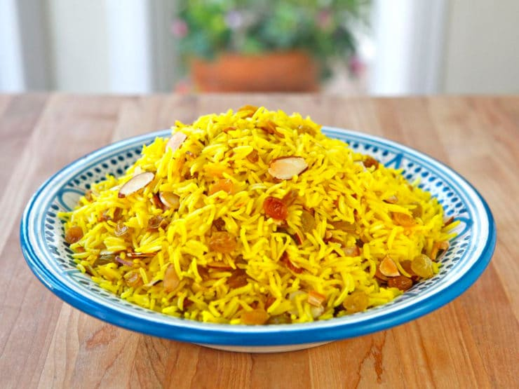Claudia Roden S Riz Au Saffran Saffron Rice With Raisins Almonds