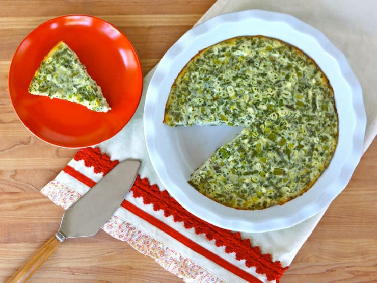 Crustless Quiche with Feta & Asparagus - Easy recipe for gluten free crustless quiche with feta cheese, asparagus, scallions, fresh parsley & spices. Kosher, Dairy, Vegetarian, Low Carb