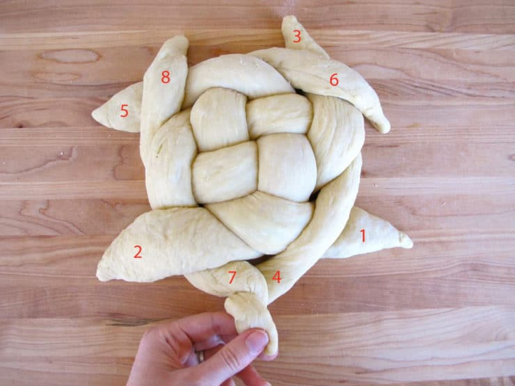 How to fold challah in a circle.