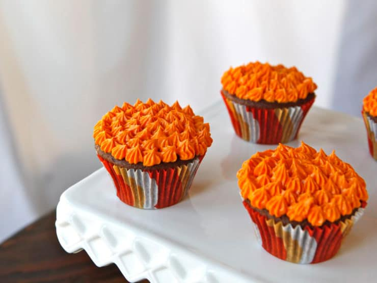 Devil's Food Cake Cupcakes with Orange Buttercream Frosting- Vintage recipe for a historical Halloween holiday dessert tradition.