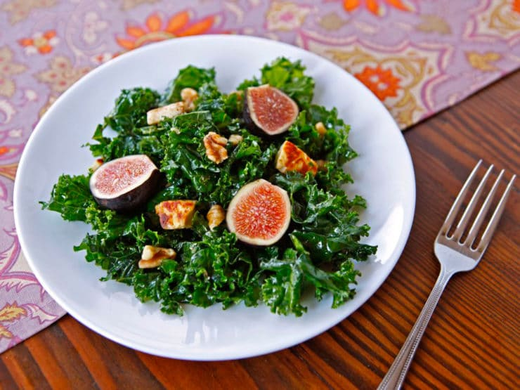 Kale, Fig and Halloumi Salad - Massaged kale salad with olive oil, balsamic vinegar, fresh figs, fried halloumi cheese and walnuts. Kosher, vegetarian, healthy, superfood.