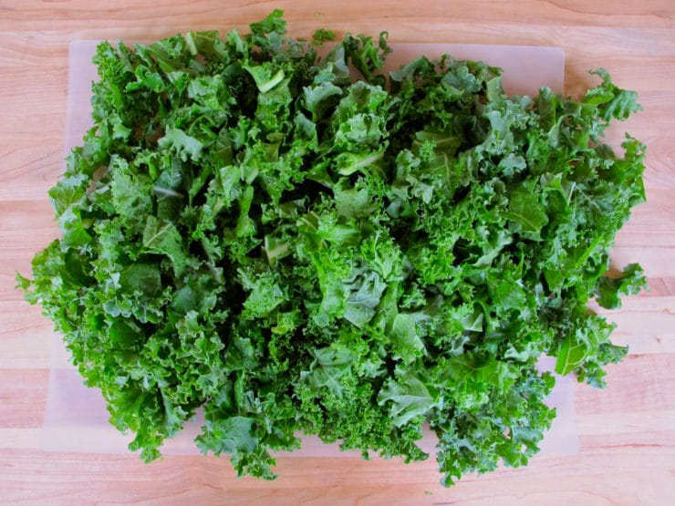 Washed kale cut into pieces.
