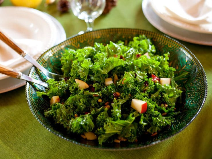 Kale, Pear and Cranberry Salad - Massaged kale salad with olive oil, lemon juice, pears, dried cranberries, and pine nuts. Kosher, pareve, vegetarian, healthy, superfood.