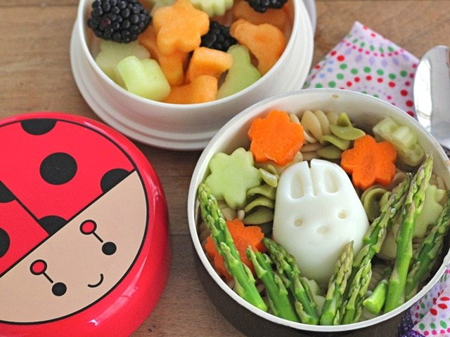 Kosher Bento Box: Pasta Salad Bento - Learn to make a cute, healthy and kosher vegetarian bento box for your kids or family with pasta salad, egg, asparagus, fruit salad and a brownie.