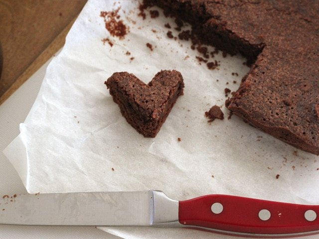 Cutting brownies into fun shapes.