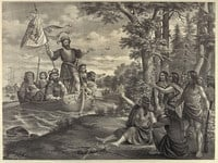 Landing of Christopher Columbus in America.