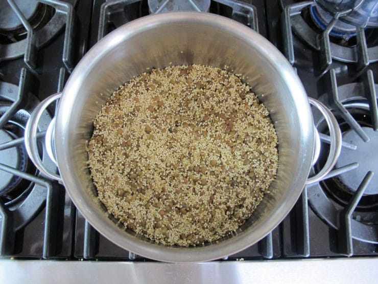 Quinoa added to lentils in stockpot.