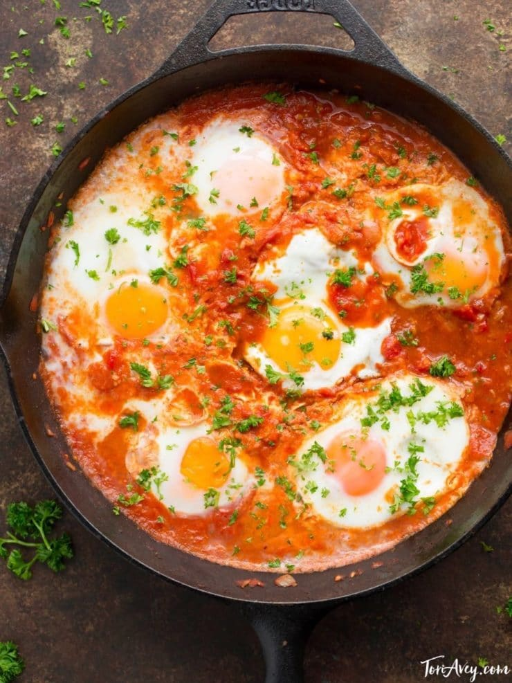 Shakshuka - Recipe for delicious Middle Eastern egg dish inspired by Dr. Shakshuka restaurant in Israel. Kosher, Vegetarian, Gluten Free, Healthy, Delicious.