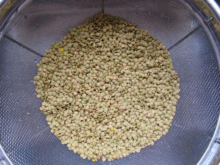 Rinsing lentils in a mesh strainer.