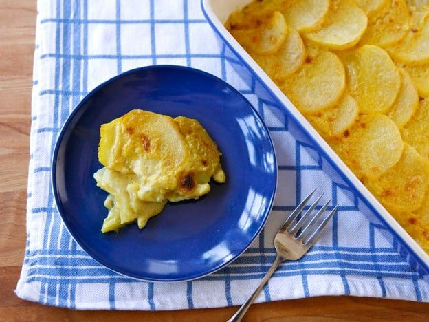 Dairy-Free Saffron Scalloped Potatoes - Vegan Potato Gratin