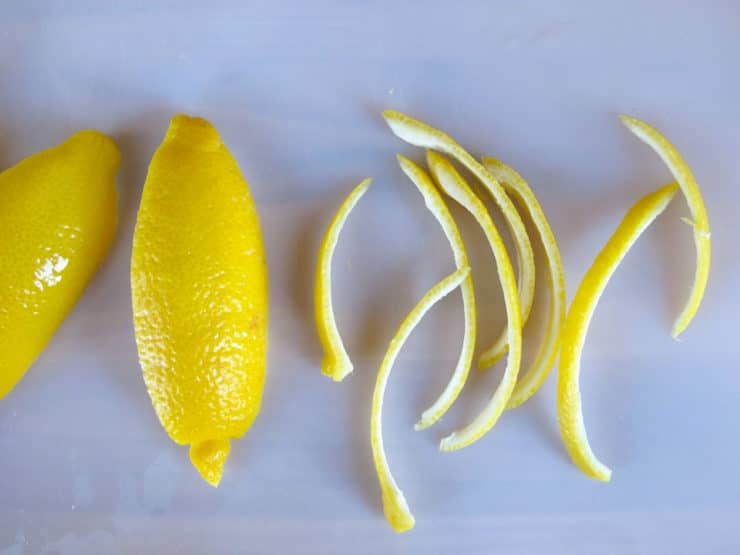 Lemon peel sliced into thin strips.