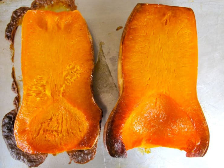 Butternut squash roasted in the oven.