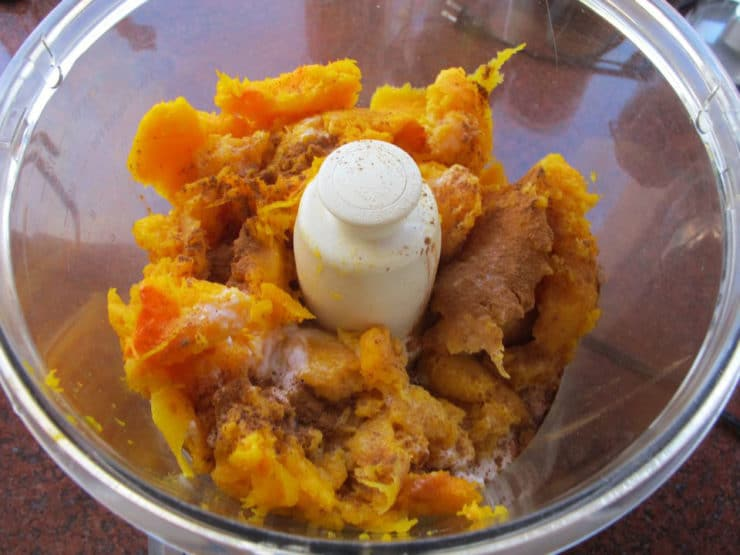Roasted butternut squash in the food processor.