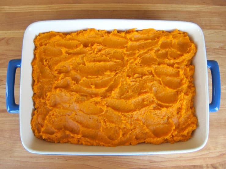 Sweet potato casserole in a baking dish.