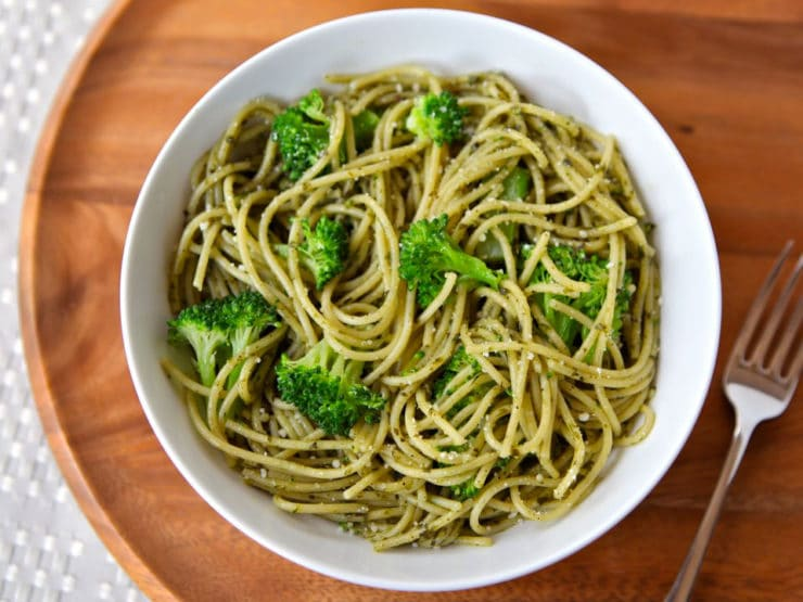 Broccoli Pesto Pasta - This simple recipe is made with pasta, pesto, and steamed broccoli. Healthy meal in under 20 minutes. Dairy, Vegan, Gluten Free options. Kosher