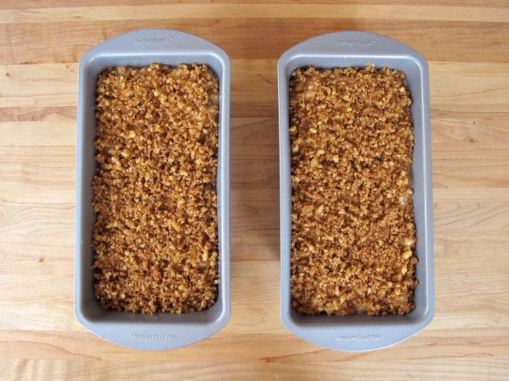 Streusel on two loaf pans.