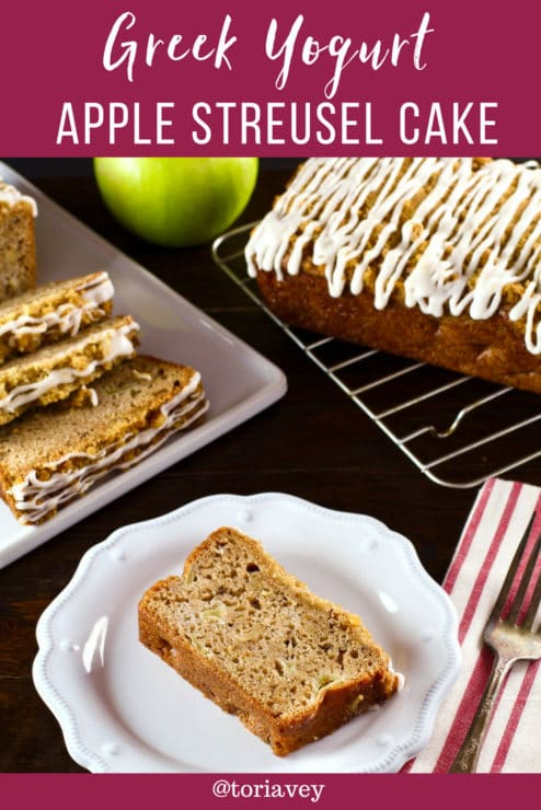 Greek Yogurt Apple Streusel Cake Pinterest Pin on ToriAvey.com