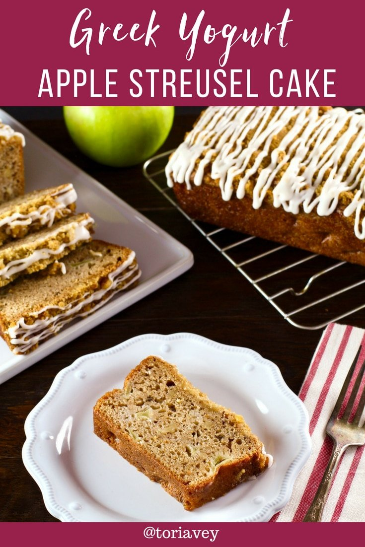 Greek Yogurt Apple Streusel Cake - A simple, moist loaf cake with lots of cinnamon, a sweet, nutty streusel topping, and a pretty white icing glaze. | Tori Avey #applecake #toriskitchen #coffeecake #streusel #greekyogurt #baking #easydessert #quickbread #apples