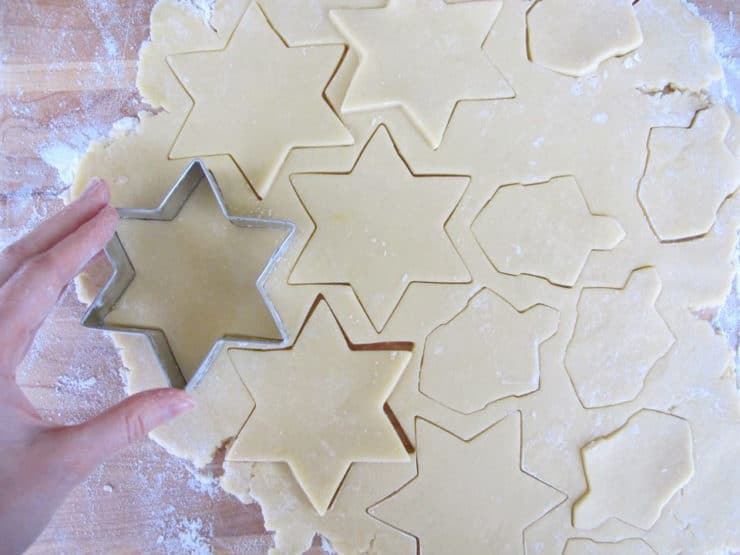 Cutting out sugar cookies.