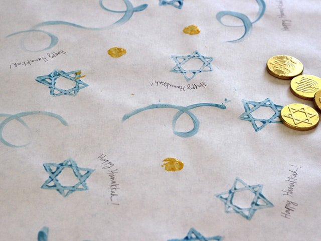 Close up detail - stamped gift wrap paper.