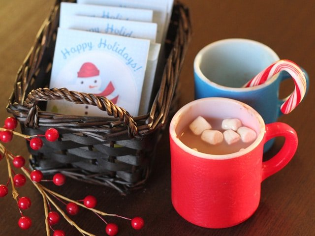 Holiday hot cocoa gift set.