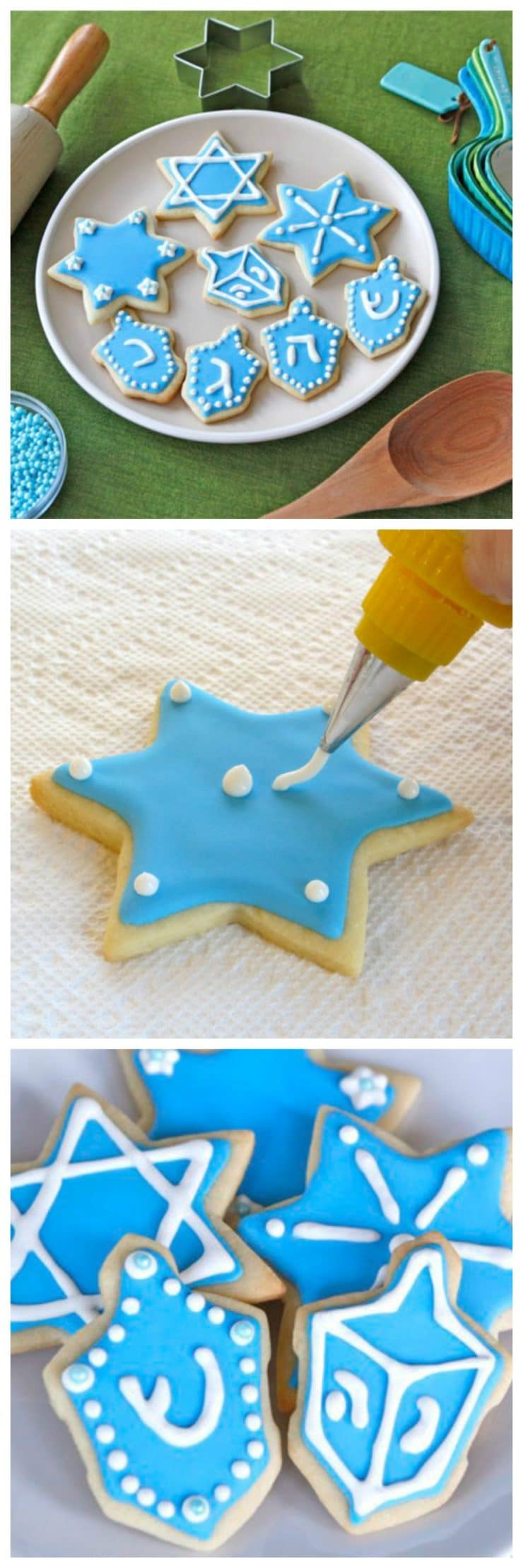 How to Decorate Sugar Cookies with Royal Icing - Tutorial with recipes, detailed instructions and step-by-step photos. | ToriAvey.com #cookies #sugarcookies #holidaycookies #cookieart #royalicing #cookieicing #howto #kitchentips #holidaysugarcookies #cookieartistry #nomnom #dessert #baking #bakingproject #bakethis #todayIlearned #holidayproject #hanukkah #chanukah #jewishholidays