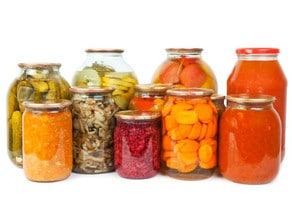 Jars of fermented vegetables and pickles.