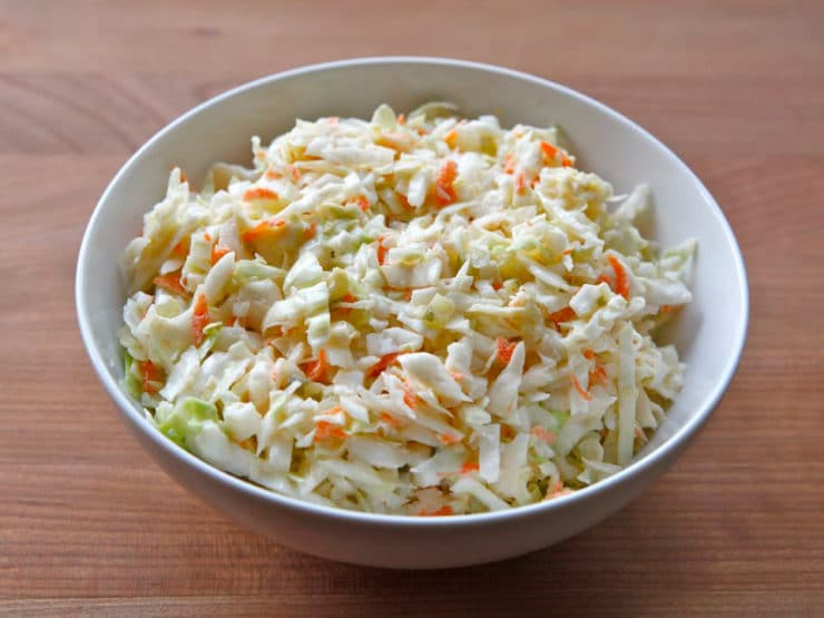 Pickle Slaw - Deli-style coleslaw with cabbage, carrots, dill pickles and a creamy mayonnaise dressing. Perfect for picnics, barbecues.