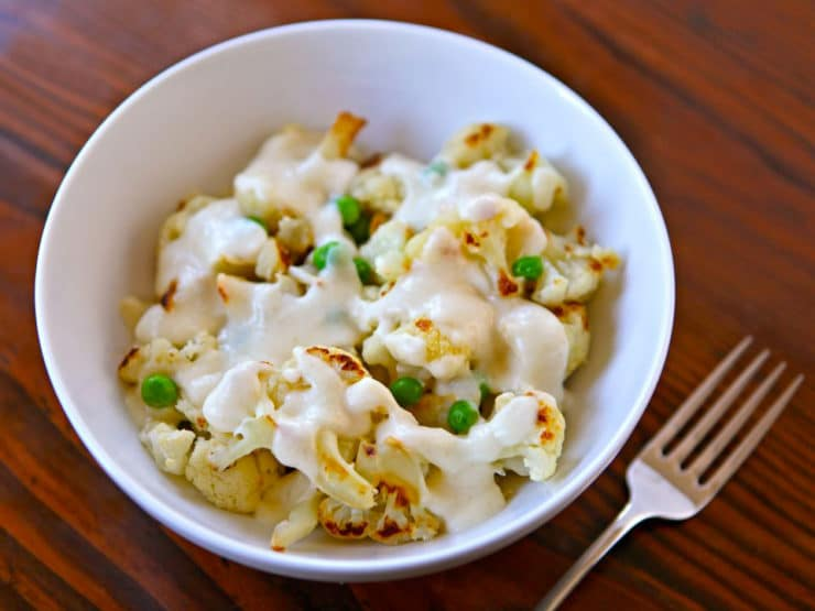 Roasted Cauliflower Alfredo with Peas