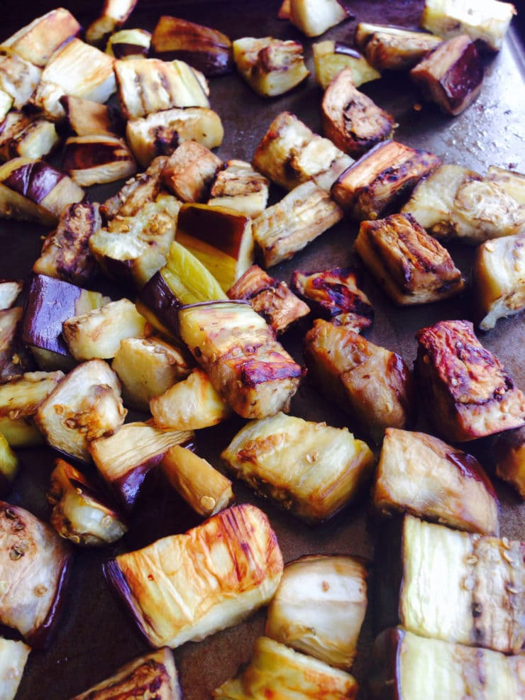 How to Roast Eggplant Cubes - Healthy, less oil than frying, tasty caramelized results. Yummy finger food, or add to your favorite recipe.