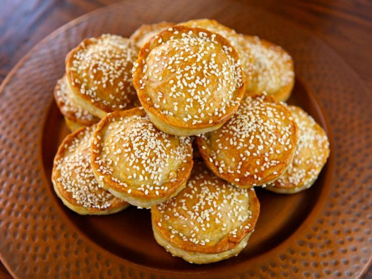Tilly's Pastelles - A Sephardic recipe from Greg Henry's cookbook, Savory Pies - Meat hand pies with egg, parsley, and herbs sprinkled with sesame seeds. Kosher