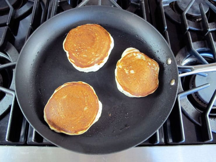 Pancakes in a skillet.