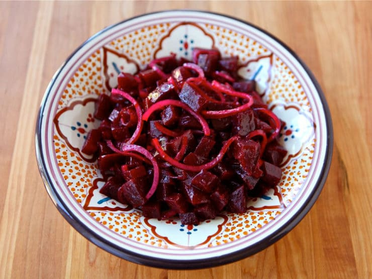 Roasted Beet and Red Onion Salad - Simple Morrocan-style mezze salad with roasted red beets, red onion, cumin and olive oil. Healthy, pareve, vegan, kosher for Passover.