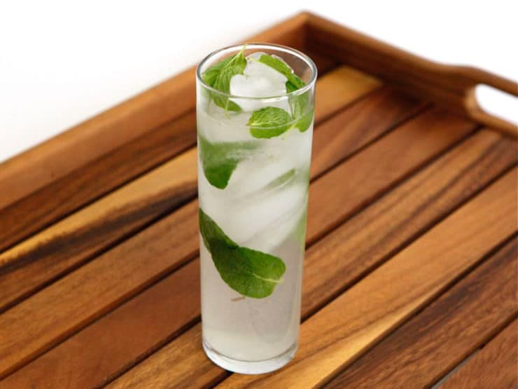 Shortcut Mojito - Use mint herb infused simple syrup to make this easy mojito, no muddling required. Mint. lime, club soda, fresh mint. Vegan, Kosher.