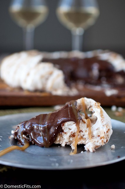 Coconut Pavlova with Cocoa Pudding and Caramel Sauce