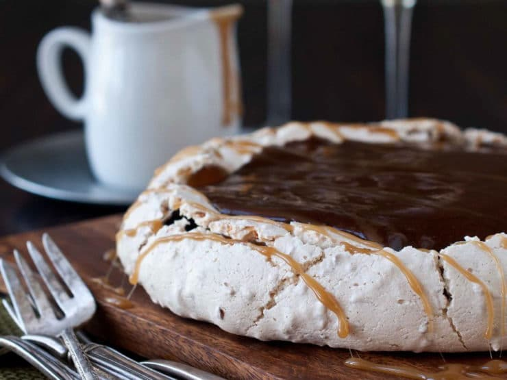 Coconut Pavlova with Pudding and Caramel Sauce