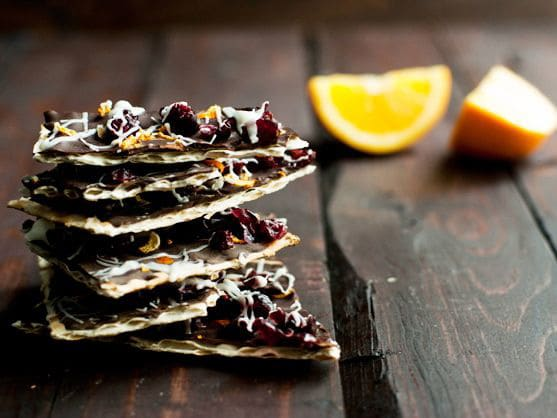 Dark Chocolate Cranberry Orange Matzo Bark