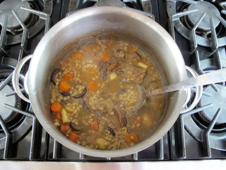 Beef soup simmering.